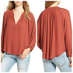 ASTR THE LABEL Pink Tie Neck Blouse